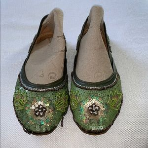 Free People Size 7 Green Sequin Beaded Flats READ
